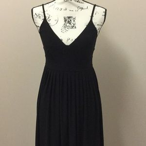 Kenar long black spaghetti strap dress